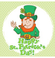 Cute saint patricks leprechaun in top-hat vector