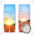 Stopwatch banners vertical vector