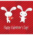 Valentines day card with rabbits vector