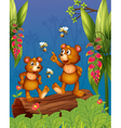 The bees and bear at the forest vector