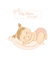 Baby shower card with pretty girl sleeping vector