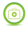 Green doctor bag icon vector