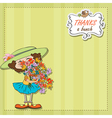 Funny girl with a bunch of flowers vector