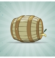Old wooden barrel filled with natural wine or beer vector