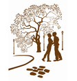 Kissing couple in the park vector