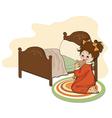 Little girl is preparing for sleep vector