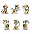 Image of running cute baby tiger collection vector