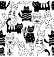 Cartoon seamless bicolor cats vector