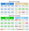 2012 calendars vector
