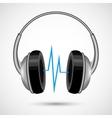 Headphones and soundwave poster vector