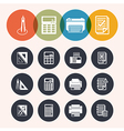 Collection circle series icons measurement instrum vector