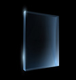 Empty glass box isolated on a black background vector
