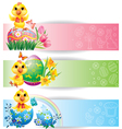 Easter colorful horizontal banners with chicken vector