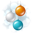 Christmas background with brilliant glossy balls vector