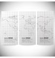 Set of vertical banners gray political world map vector