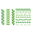 Set of green floral borders vector