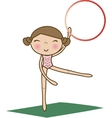 Pretty little girl doing gymnastics over white vector