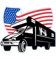 Camper van with american flag stars and stripes vector