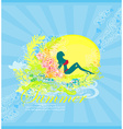 Tropical sexy girl silhouette grunge poster vector