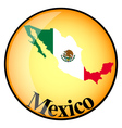 Orange button with the image maps of mexico vector