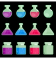 Icon of transparent flasks vector