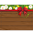 Rural background with fence and flowers vector