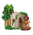 Caveman and house vector