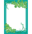 Green floral frame with white center vector