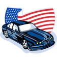 American ford gt muscle car with flag vector