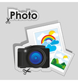 Label of digital camera and some photographs vector