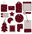 Red and gold christmas tags vector