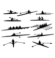 Rowing silhouettes vector