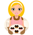 Retro cooking blond woman serving sweet food vector