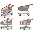 Shopping cart or trolley from several positions vector