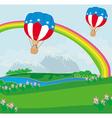 Hot air balloons of 4 of july in flight vector