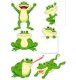 Cute frog cartoon collection set vector