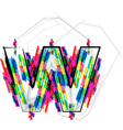 Colorful font - letter w vector