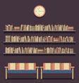 Flat design reading seats and bookshelves vector