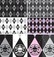 Skull argyle seamless pattern set vector