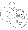 Outlined thumb up emoticon vector
