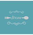 Fork spoon and abstract calligraphic frame menu vector