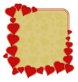 Valentines day frame of hearts gold background vector