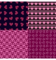 Four seamless patterns with hearts vector