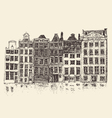 Amsterdam city architecture vintage engraved vector