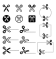 Scissors with cut lines icons set vector