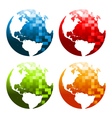 Pixel planet earth icons vector