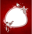 Red christmas background with birds vector