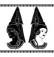 Ladies in medieval hats stencil vector