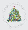 Fir tree art holiday card vector