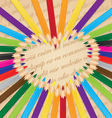 Colorful pencils arranged in a heart background vector